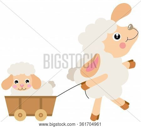 Scalable Vectorial Representing A Mum Sheep Pulling Wooden Small Cart With Baby Lamb, Element For De