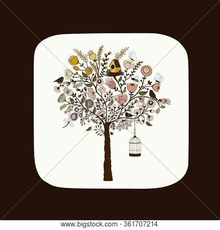 Cute Card With Beautiful Floral Tree With Birdcage, Bird And Butterflies