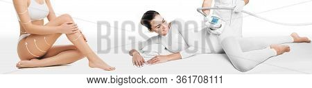 Lifting Body. Beautiful Woman Receives Lpg Massage To Remove Cellulite From Her Body. Anti-cellulite