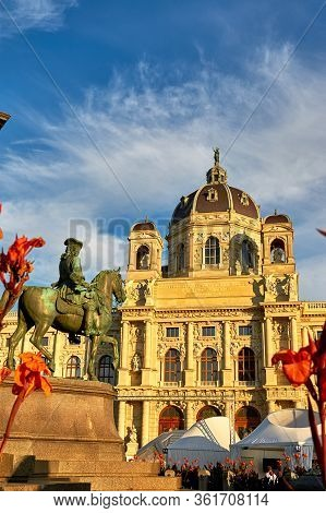 Vienna, Austria - September 2018: Palace And Monument In The City Center