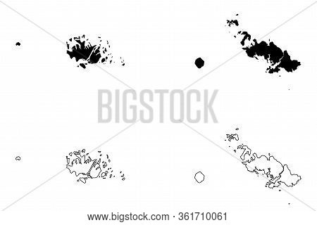Central Province (provinces Of Solomon Islands, Solomon Islands, Island) Map Vector Illustration, Sc