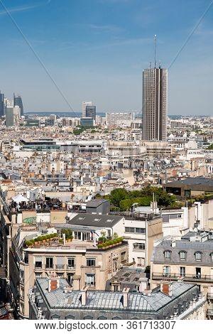 Paris. France - May 15, 2019: Paris Skyline. View on Modern Skyscraper Hotel of the Hyatt Regency Paris Etoile (formerly Concorde Lafayette). View from Arc de Triomphe in Paris. France.