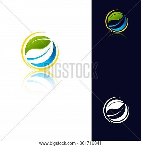 Green Leaf Icon Vector Illustrations,green Power Energy Logo Design Element, Thunder Leaf Logo, Leav