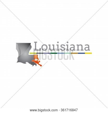 Louisiana Low Poly Logo. Colorful Gradient Travel Logo Of The Us State In Geometric Style. Multicolo