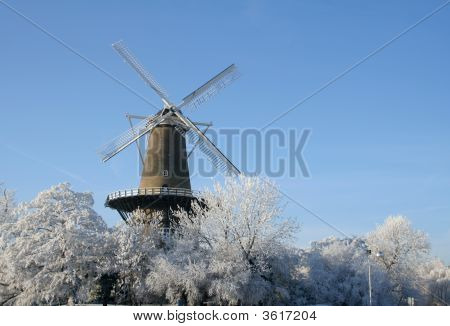 Windmill And Icy Trees