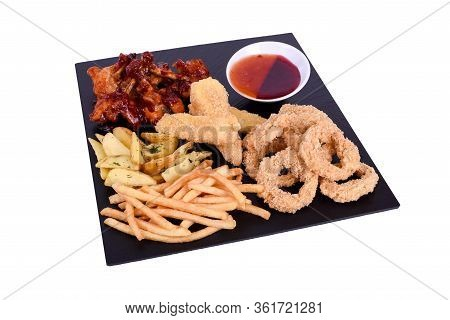 A Huge Set Of Snacks For Beer Solated On A White Background.