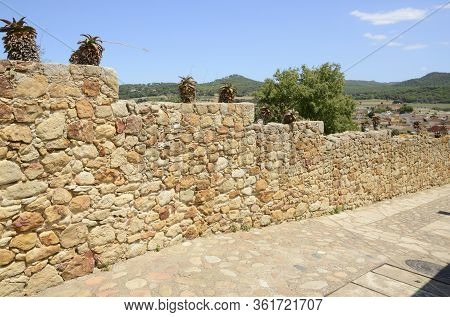 Stone Footpath With Views To The Countryside In The Medieval Village Of Pals, Located In The Middle