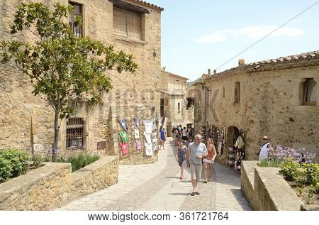 Medieval Street In Costa Brava Village