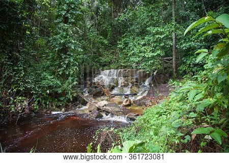 Waterfall On A Clear Sunny Day Amidst A Jungle Of Palm Trees And Vines, The Island Of Tobago. Subtro