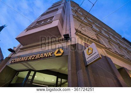 Prague, Czechia - November 2, 2019: Commerzbank Logo On Their Main Office For Prague. Commerzban Ag