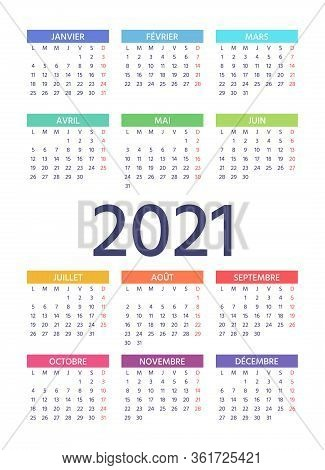 French Calendar 2021 Year. Week Starts Monday. Vector. Layout Of Pocket Or Wall France Calenders. Ye