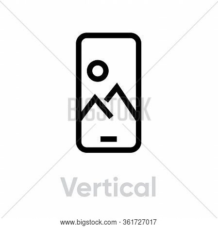 Vertical Image On Phone Camera Icon. Editable Line Vector.
