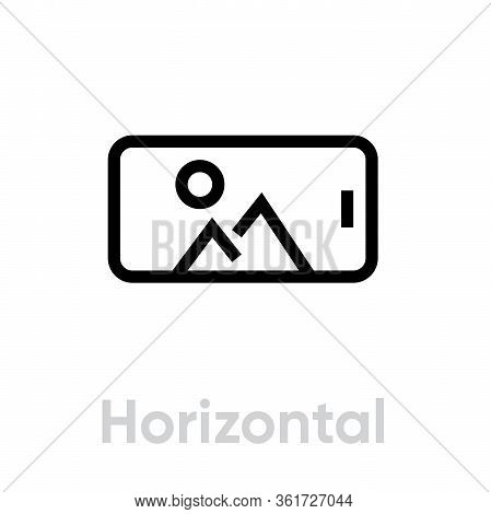 Horizontal Photo On Phone Camera Icon. Editable Line Vector.