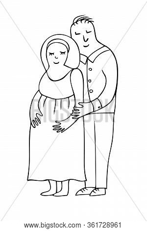 Pregnant Couple Vector - Man And Pregnant Woman, Young Family Waiting For A Baby, Love And Care Conc