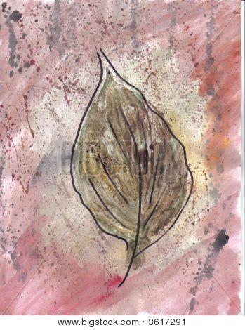 Art Hosta Leaf On Pink Spattered