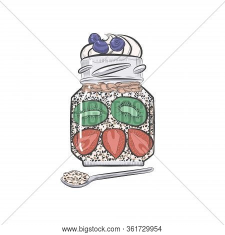 Chia Pudding With Berries In Glass Jar Vector Sketch. Chia Dessert With Whipped Cream On Top With Sp