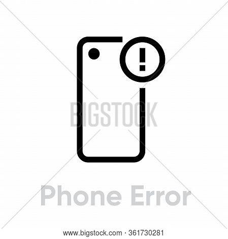 Phone Error Camera Icon. Editable Line Vector.