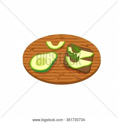 Toast With Avocado And Lettuce. Fresh Toasted Bread With Slices Of Avocado On Wooden Kitchen Board,