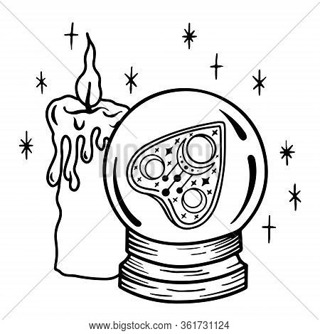 A Magic Prediction Ball With A Ouija Board Pointer Inside And A Candle. Magic Crystal Ball For Divin