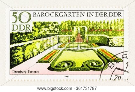Seattle Washington - April 16, 2020: Close Up Of 1980 East Germany Ddr Stamp Featuring Formal Baroqu