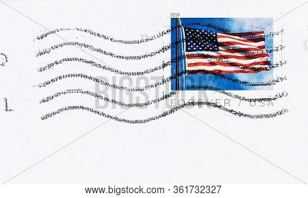 Seattle Washington - April 15, 2020: Close Up Of 2019 Usa Forever Coil Stamp Featuring American Flag