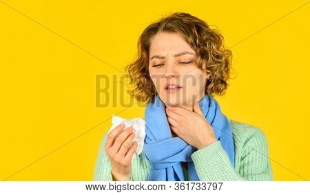 Runny Nose Caused By Illness. Ill With Laryngitis. Acute Respiratory Viral. Sick Girl With Runny Nos