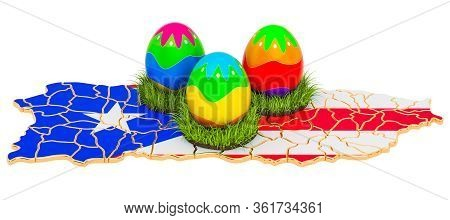 Easter Holiday In Puerto Rico, Easter Eggs On The Puerto Rican Map. 3d Rendering Isolated On White B