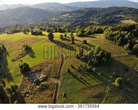 Beskids Mountains In Poland. Landscape Of Zywiec Beskids (beskid Zywiecki) Near Milowka.