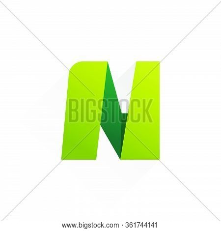 N Letter Paper Folding Origami Style Logo Design. Vector Icon Perfect For Kids Labels, Modern Poster
