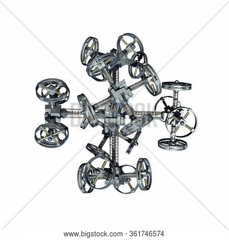 3d Interstellar Military Spacecraft With Gravitation Wheels For Futuristic Deep Space Travel Or Scie