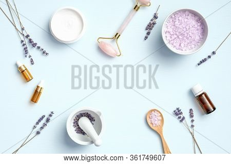 Set Of Natural Organic Spa Cosmetic With Lavender. Flat Lay Bath Salt, Mortar With Lavandula Petals,
