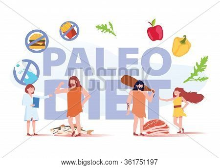 Paleo Diet Healthy Eating Concept. Cave People And Doctor Nutritionist Walking Around Of Products Se