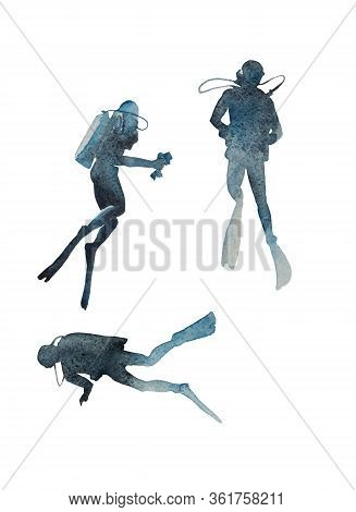 Watercolor Group Of Divers Rises From Depth Of Ocean. Original Illustration Of Three Divers In Diffe