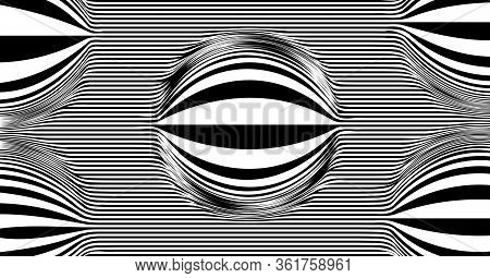 Op Art Psychedelic Lines. Abstract Pattern. Texture With Wavy, Curves Stripes. Optical Art Backgroun