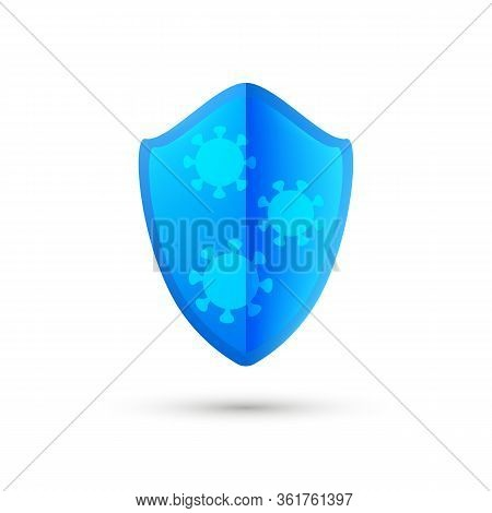 Coronavirus Protection Blue Shield, Anti Covid-19 Emblem. Health Care Icon. Modern Bright Design. Pr