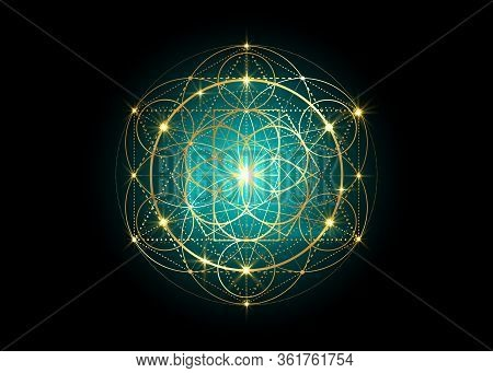 Seed Of Life Symbol Sacred Geometry.  Geometric Mystic Mandala Of Alchemy Esoteric Flower Of Life. G