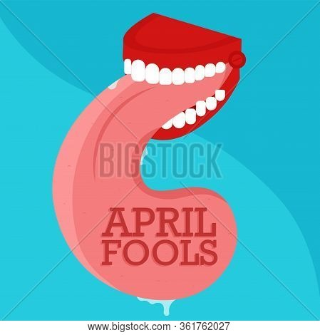 April Fools Day Poster. Joke Teeth With A Tongue - Vector