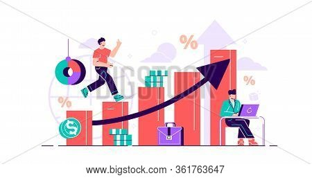 Financial Forecast Vector Illustration. Flat Tiny Economical Persons Concept. Money Growth Predictio
