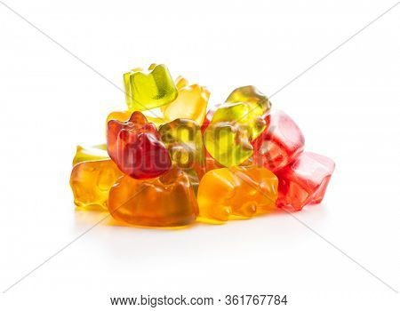 Gummy bears, jelly candy. Colorful bonbons isolated on white background.