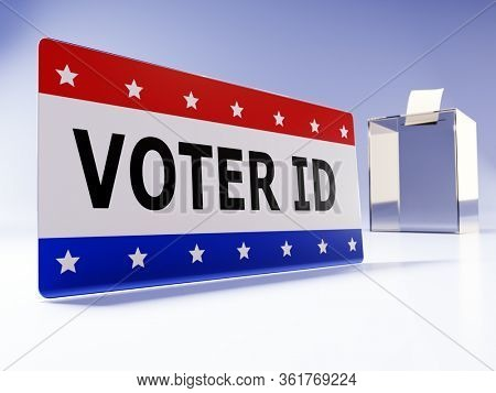 3D rendering of Voter ID card with transparent ballot box in the background