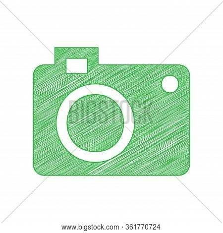 Digital Camera Sign. Green Scribble Icon With Solid Contour On White Background. Illustration.