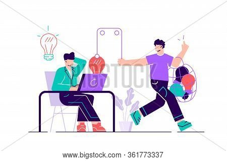 Creator Sitting At Desk And Working And Plagiarist Or Pirate Stealing His Ideas, Content, Work Resul
