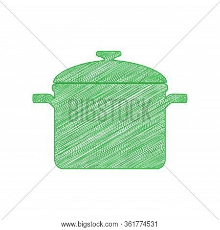 Cooking Pan Sign. Green Scribble Icon With Solid Contour On White Background. Illustration.