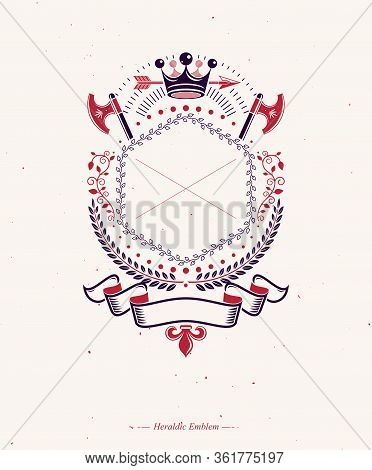 Graphic Emblem Made With Royal Crown Element, Different Armory And Elegant Ribbon.heraldic Coat Of A