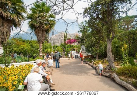 Cornwall England - July 24 2013; Inside Geodesic Dome Of Eden Project Botanical Gardens People Movin
