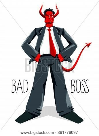 Big Boss Director With Horns Like Demon Or Devil Stands Confident Serious And Angry Vector Illustrat
