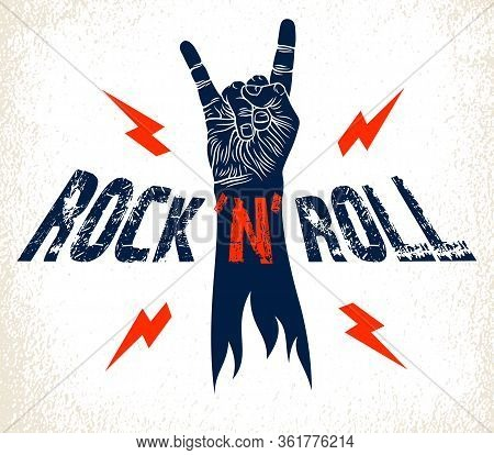Rock Hand Sign With Lightning Bolts, Hot Music Rock And Roll Gesture, Hard Rock Festival Concert Or