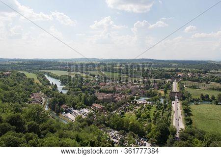 Panoramic View From Scaliger Castle On Valeggio Sul Mincio, Veneto, Italy.