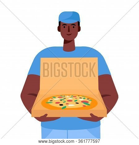 Pizza Delivery Man Holding Open Cardboard Box With Pizza Inside Delivery Order. Fast Courier. Restau
