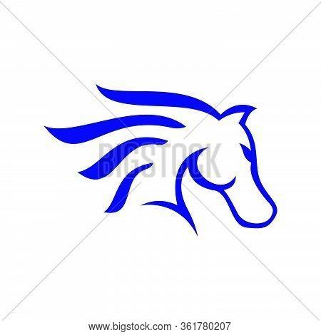 Blue Horse Head Logo Design Pride And Beauty Sign Symbol Vector Illustration